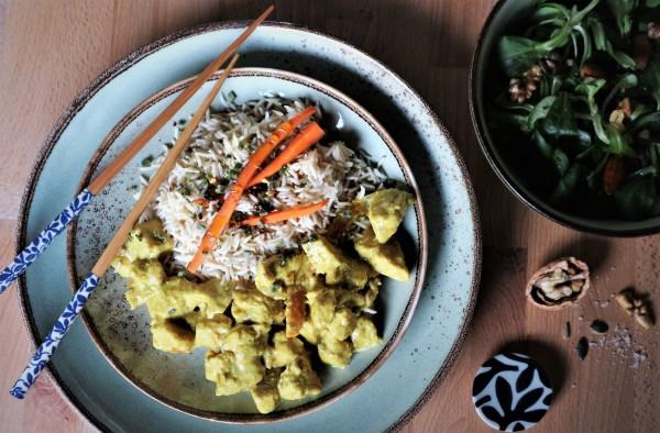 Pollo al Curry con riso basmati, ricetta semplice e veloce.