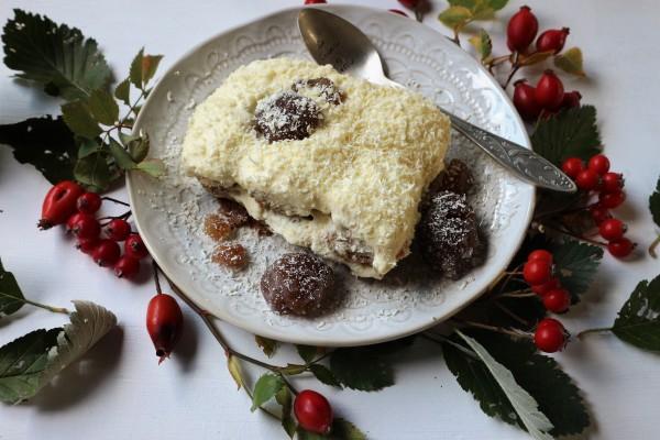 Tiramisù con marrons glacés e cioccolato bianco.